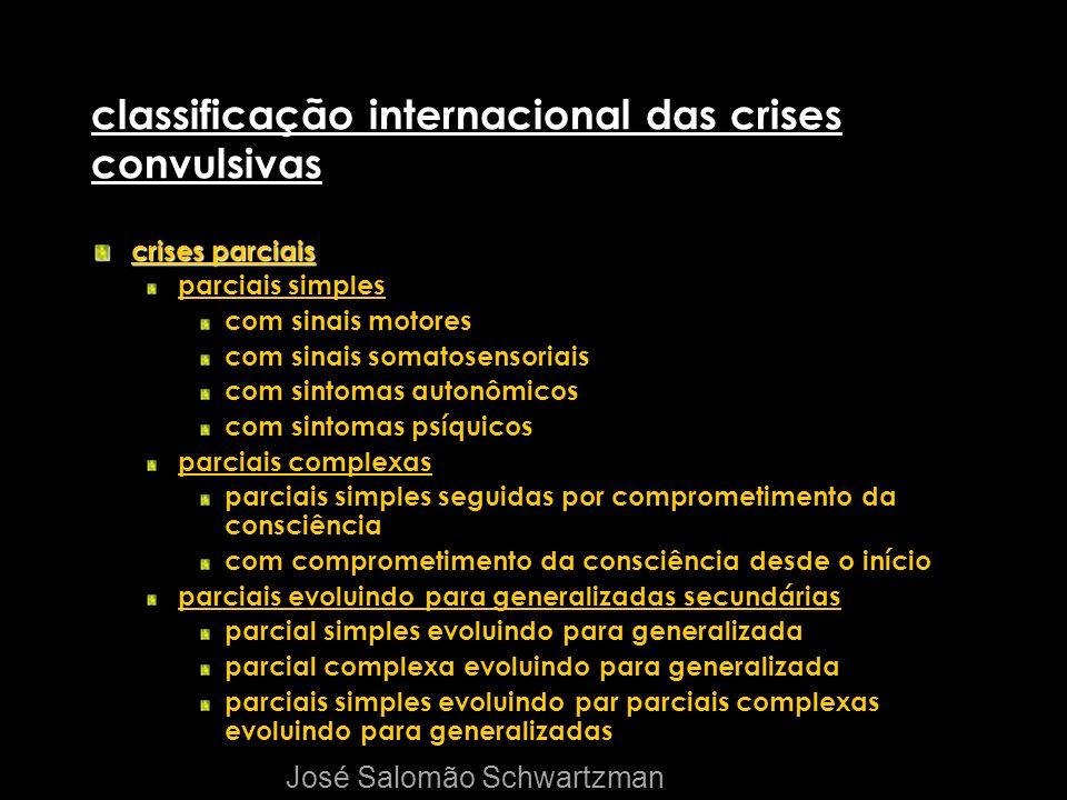 classificação internacional das crises convulsivas crises parciais parciais simples com sinais motores com sinais somatosensoriais com sintomas autonô