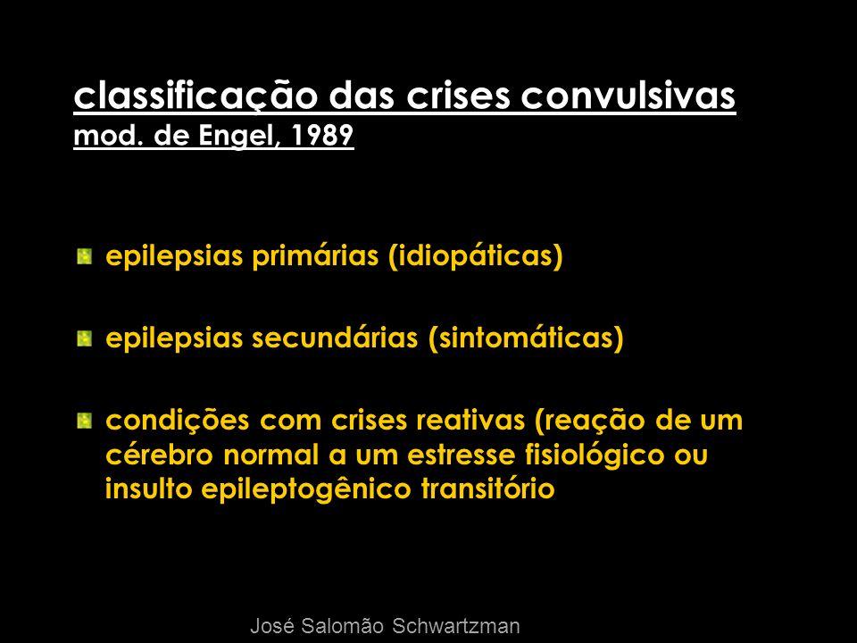 classificação das crises convulsivas mod. de Engel, 1989 epilepsias primárias (idiopáticas) epilepsias secundárias (sintomáticas) condições com crises