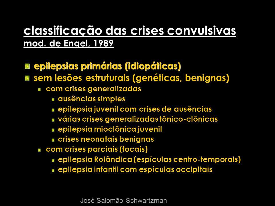 classificação das crises convulsivas mod. de Engel, 1989 epilepsias primárias (idiopáticas) sem lesões estruturais (genéticas, benignas) com crises ge