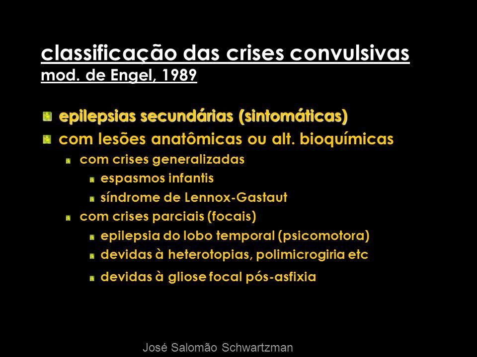 classificação das crises convulsivas mod. de Engel, 1989 epilepsias secundárias (sintomáticas) com lesões anatômicas ou alt. bioquímicas com crises ge