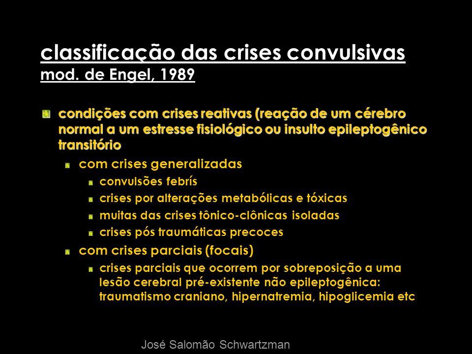 classificação das crises convulsivas mod. de Engel, 1989 condições com crises reativas (reação de um cérebro normal a um estresse fisiológico ou insul