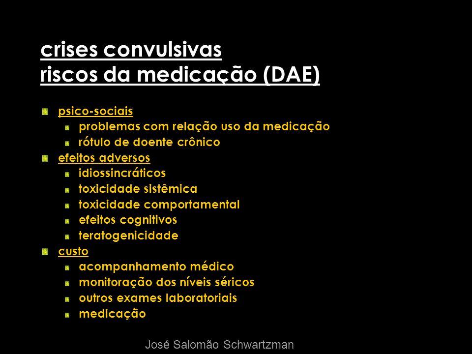 crises convulsivas riscos da medicação (DAE) psico-sociais problemas com relação uso da medicação rótulo de doente crônico efeitos adversos idiossincr