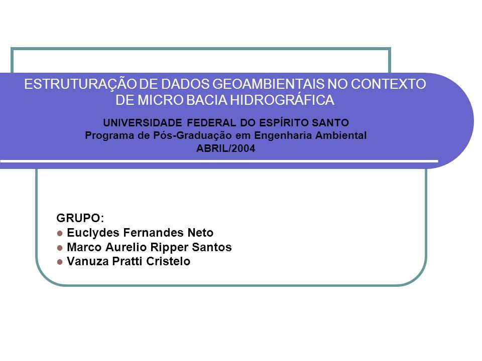 ESTRUTURAÇÃO DE DADOS GEOAMBIENTAIS NO CONTEXTO DE MICRO BACIA HIDROGRÁFICA UNIVERSIDADE FEDERAL DO ESPÍRITO SANTO Programa de Pós-Graduação em Engenh