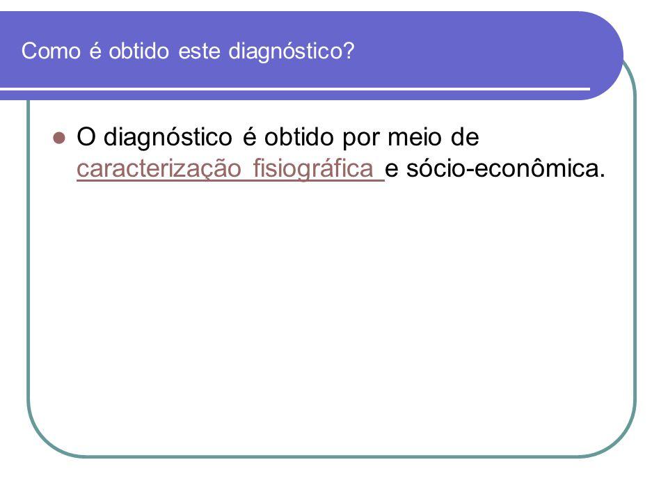 Como é obtido este diagnóstico? O diagnóstico é obtido por meio de caracterização fisiográfica e sócio-econômica. caracterização fisiográfica