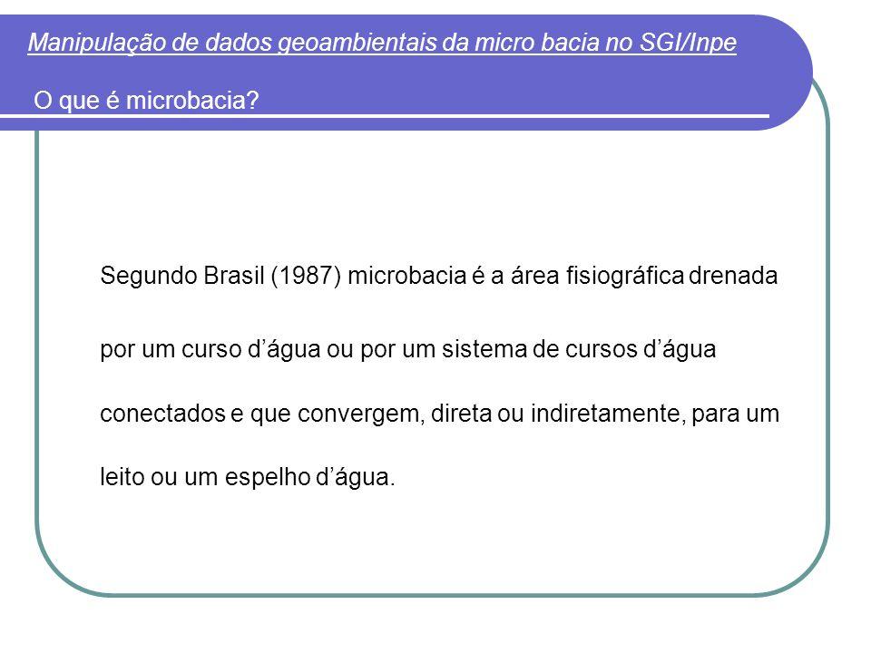 Manipulação de dados geoambientais da micro bacia no SGI/Inpe O que é microbacia? Segundo Brasil (1987) microbacia é a área fisiográfica drenada por u