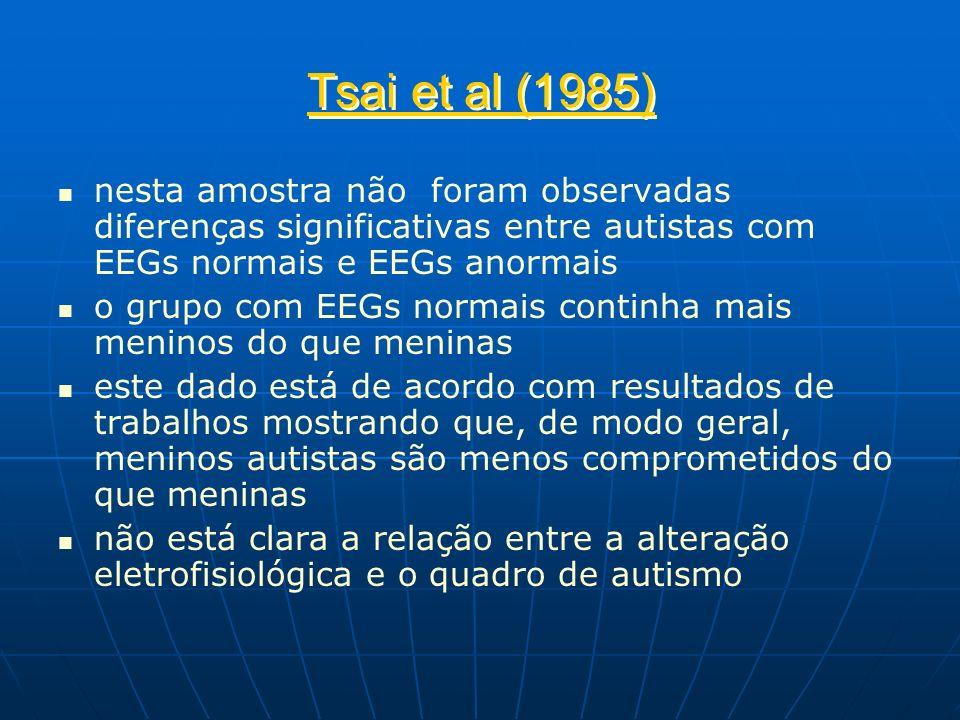Tsai et al (1985) nesta amostra não foram observadas diferenças significativas entre autistas com EEGs normais e EEGs anormais o grupo com EEGs normai