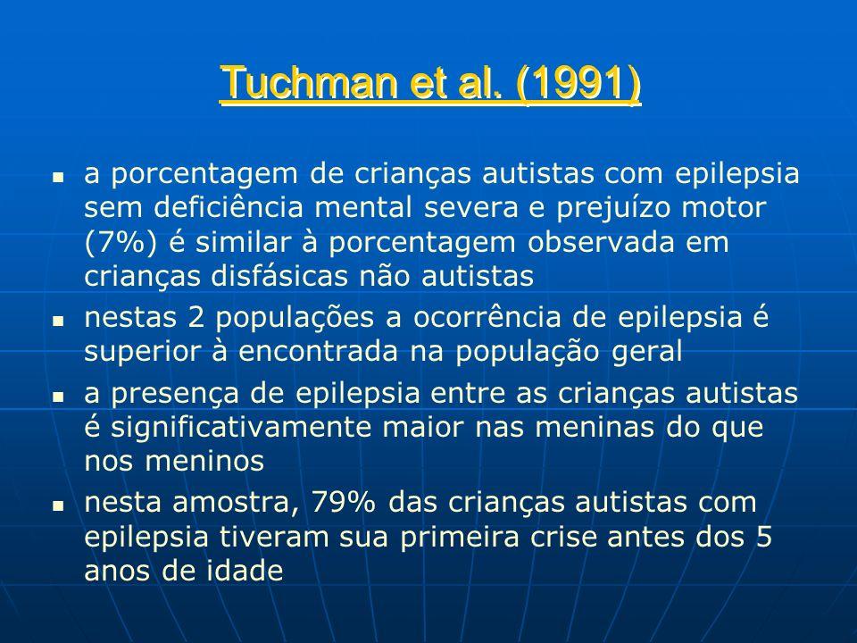 Tuchman et al. (1991) a porcentagem de crianças autistas com epilepsia sem deficiência mental severa e prejuízo motor (7%) é similar à porcentagem obs