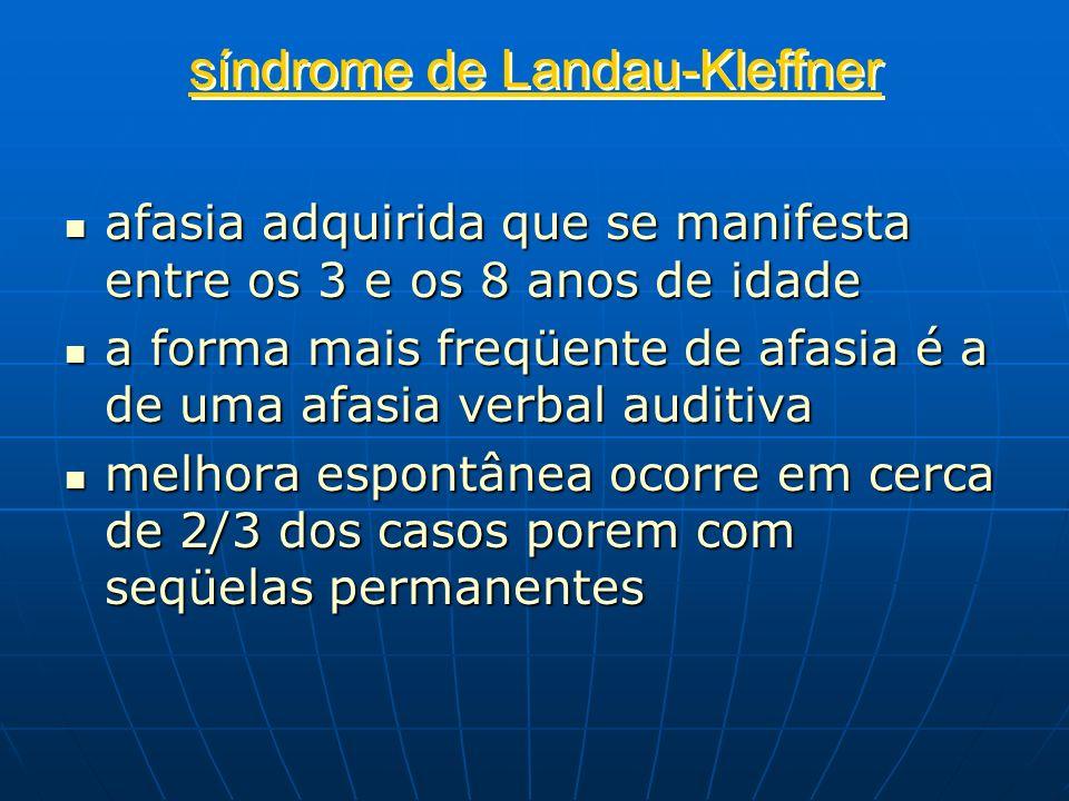 síndrome de Landau-Kleffner afasia adquirida que se manifesta entre os 3 e os 8 anos de idade afasia adquirida que se manifesta entre os 3 e os 8 anos