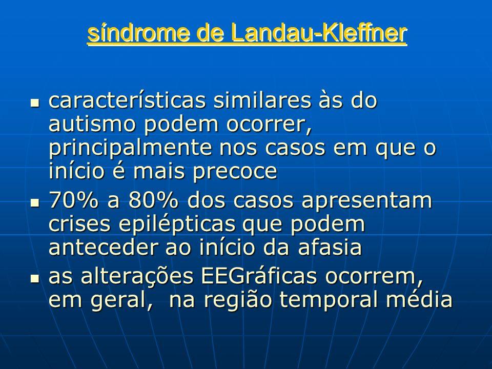 síndrome de Landau-Kleffner características similares às do autismo podem ocorrer, principalmente nos casos em que o início é mais precoce característ