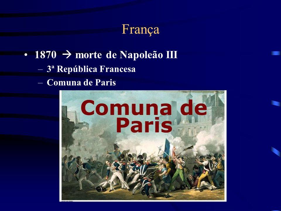 França 1870 morte de Napoleão III –3ª República Francesa –Comuna de Paris