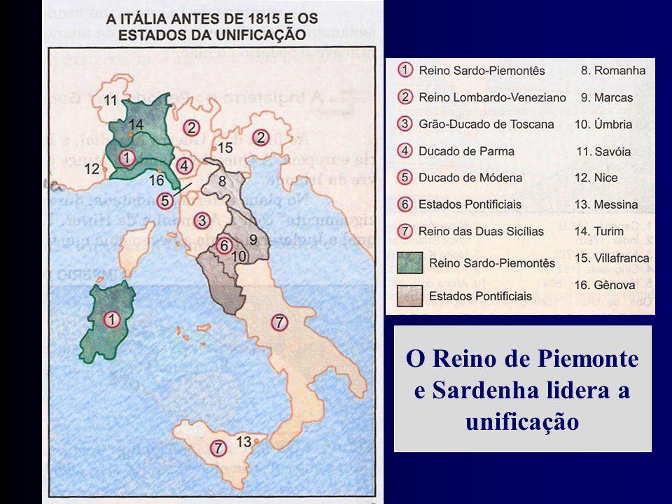 O Reino de Piemonte e Sardenha lidera a unificação