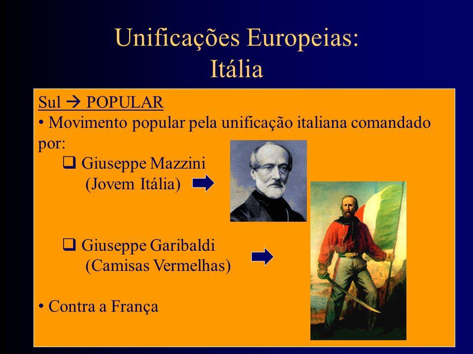 Unificações Europeias: Itália Sul POPULAR Movimento popular pela unificação italiana comandado por: Giuseppe Mazzini (Jovem Itália) Giuseppe Garibaldi
