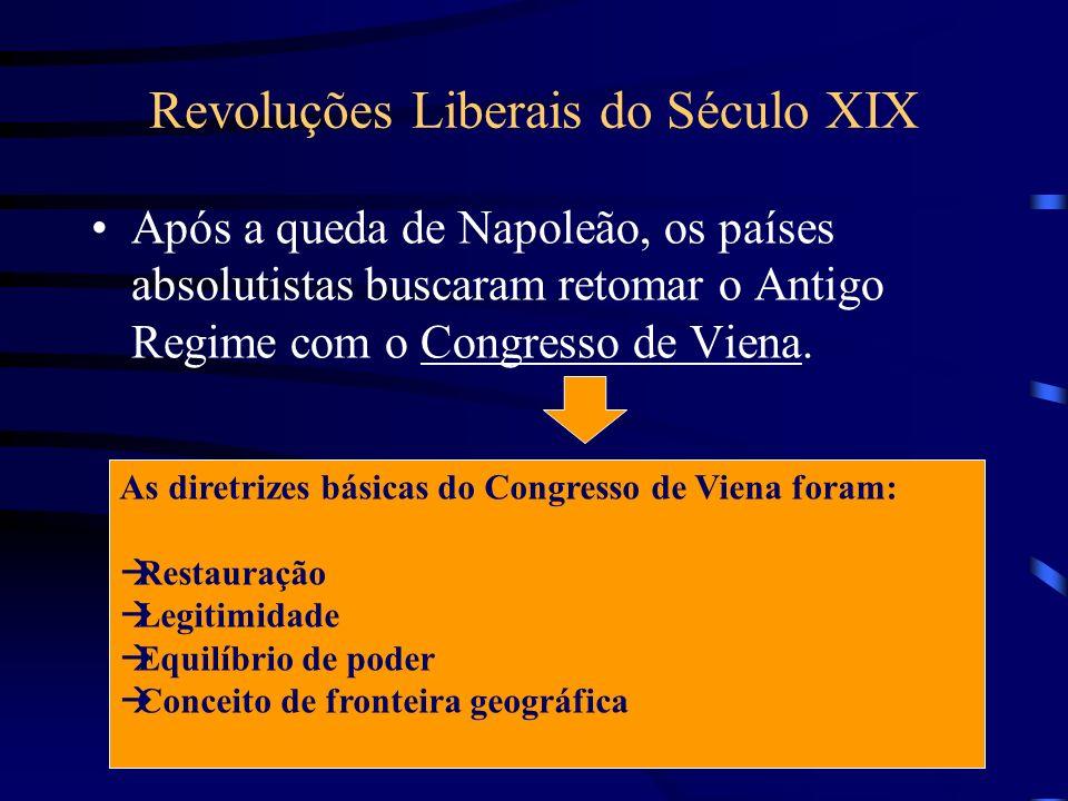 Após a queda de Napoleão, os países absolutistas buscaram retomar o Antigo Regime com o Congresso de Viena. As diretrizes básicas do Congresso de Vien