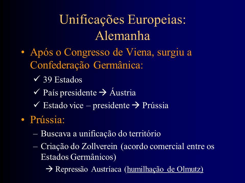 Após o Congresso de Viena, surgiu a Confederação Germânica: 39 Estados País presidente Áustria Estado vice – presidente Prússia Prússia: –Buscava a un