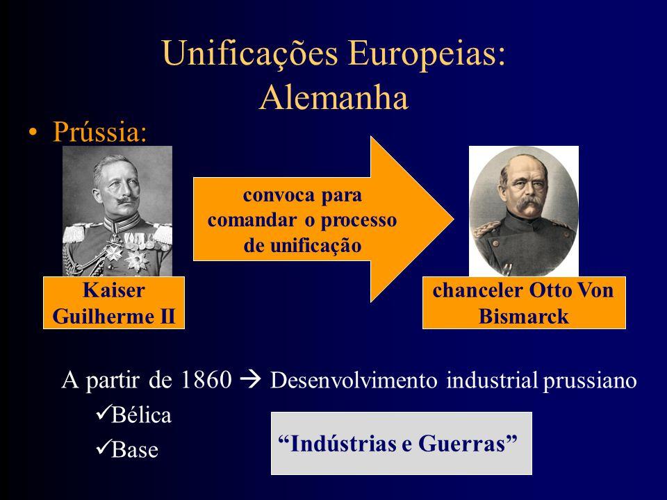 Unificações Europeias: Alemanha Prússia: A partir de 1860 Desenvolvimento industrial prussiano Bélica Base Kaiser Guilherme II chanceler Otto Von Bism