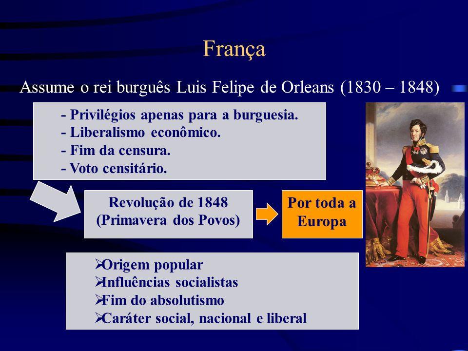 França Assume o rei burguês Luis Felipe de Orleans (1830 – 1848) - Privilégios apenas para a burguesia. - Liberalismo econômico. - Fim da censura. - V
