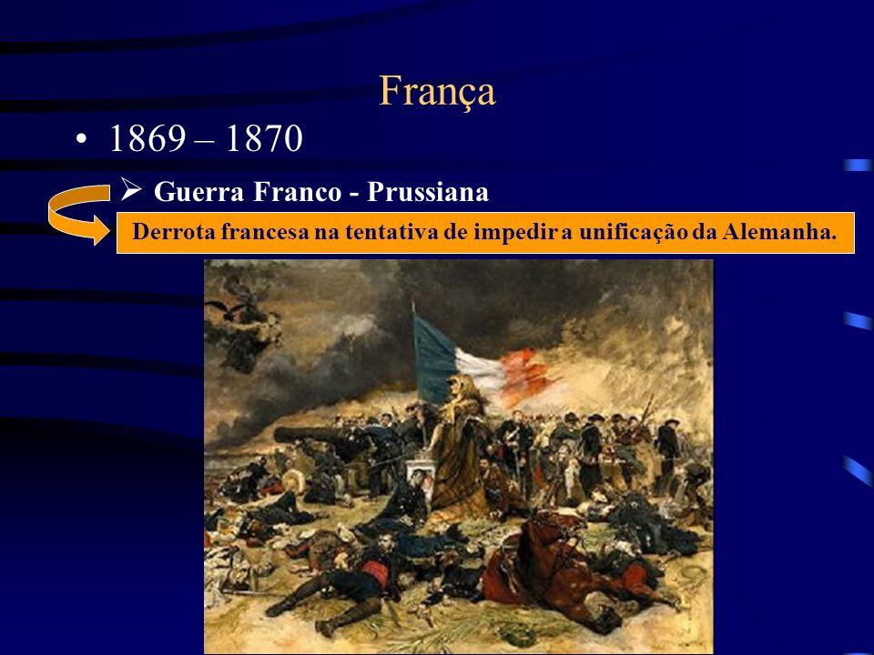 França 1869 – 1870 Guerra Franco - Prussiana Derrota francesa na tentativa de impedir a unificação da Alemanha.
