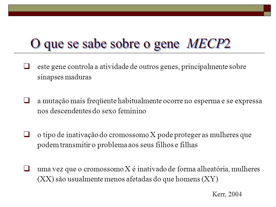 O que se sabe sobre o gene MECP2 este gene controla a atividade de outros genes, principalmente sobre sinapses maduras a mutação mais freqüente habitu