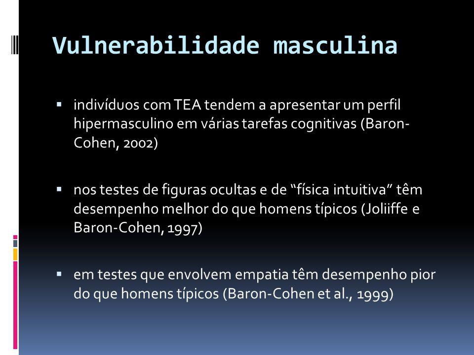 Vulnerabilidade masculina indivíduos com TEA tendem a apresentar um perfil hipermasculino em várias tarefas cognitivas (Baron- Cohen, 2002) nos testes