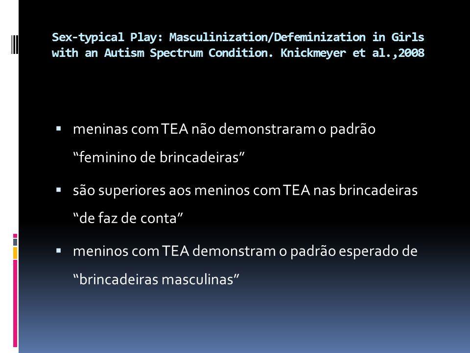 Sex-typical Play: Masculinization/Defeminization in Girls with an Autism Spectrum Condition. Knickmeyer et al.,2008 meninas com TEA não demonstraram o