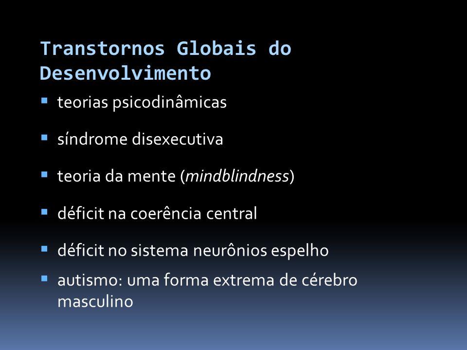 Transtornos Globais do Desenvolvimento teorias psicodinâmicas síndrome disexecutiva teoria da mente (mindblindness) déficit na coerência central déficit no sistema neurônios espelho
