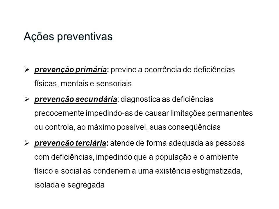 prevenção primária: previne a ocorrência de deficiências físicas, mentais e sensoriais prevenção secundária: diagnostica as deficiências precocemente