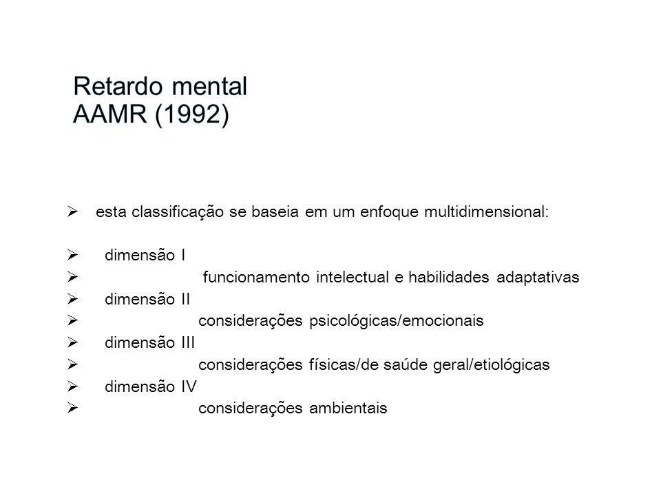 esta classificação se baseia em um enfoque multidimensional: dimensão I funcionamento intelectual e habilidades adaptativas dimensão II considerações
