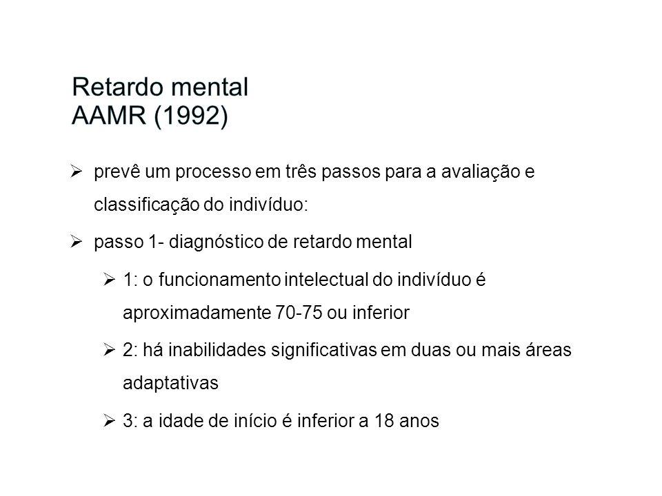 prevê um processo em três passos para a avaliação e classificação do indivíduo: passo 1- diagnóstico de retardo mental 1: o funcionamento intelectual