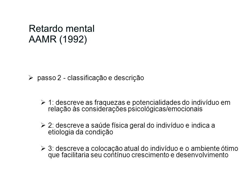 passo 2 - classificação e descrição 1: descreve as fraquezas e potencialidades do indivíduo em relação às considerações psicológicas/emocionais 2: des