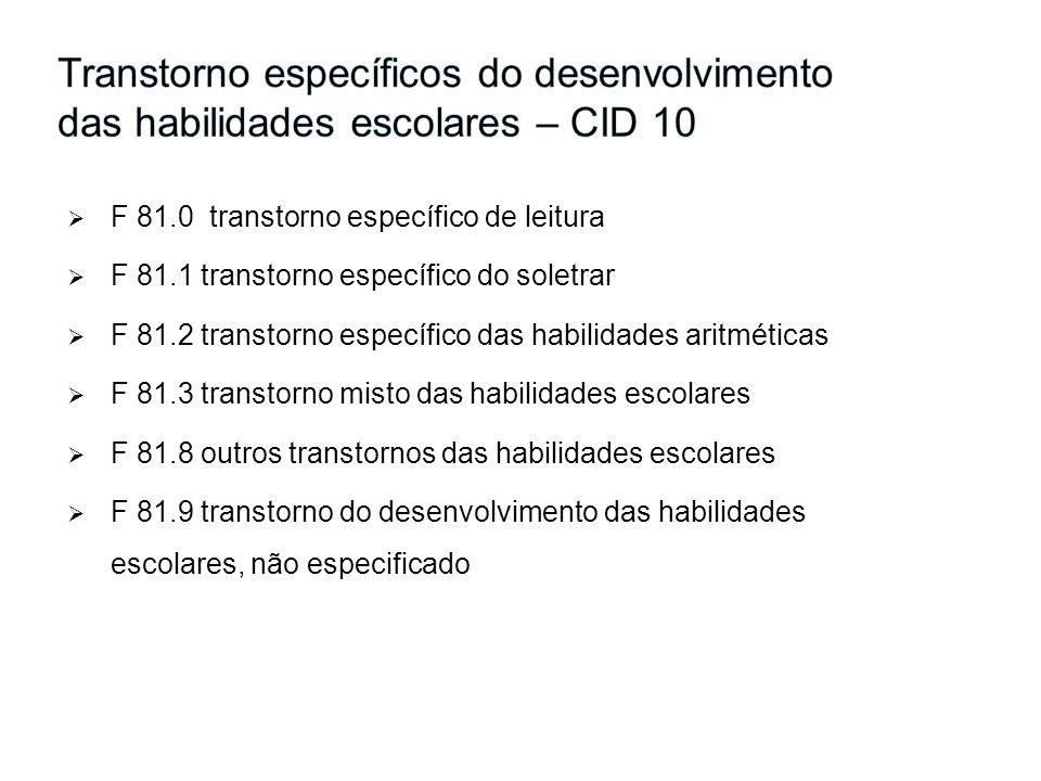 F 81.0 transtorno específico de leitura F 81.1 transtorno específico do soletrar F 81.2 transtorno específico das habilidades aritméticas F 81.3 trans