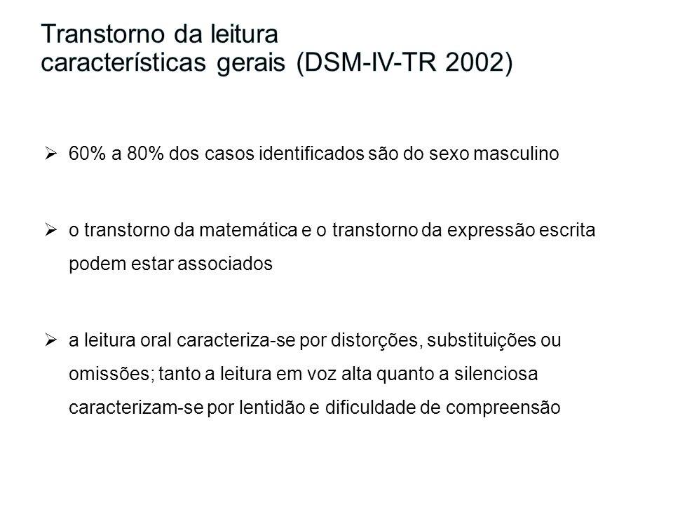 60% a 80% dos casos identificados são do sexo masculino o transtorno da matemática e o transtorno da expressão escrita podem estar associados a leitur