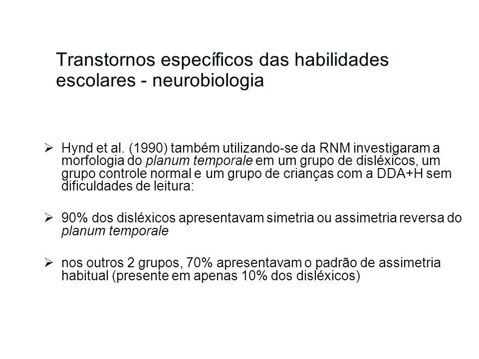 Hynd et al. (1990) também utilizando-se da RNM investigaram a morfologia do planum temporale em um grupo de disléxicos, um grupo controle normal e um