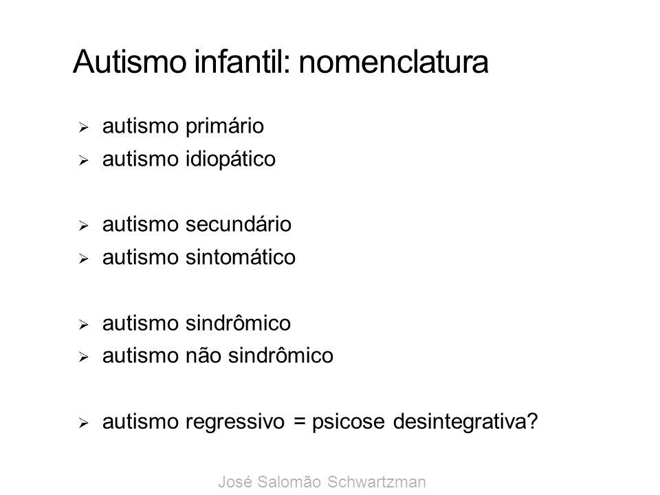 Autismo infantil: nomenclatura autismo primário autismo idiopático autismo secundário autismo sintomático autismo sindrômico autismo não sindrômico au
