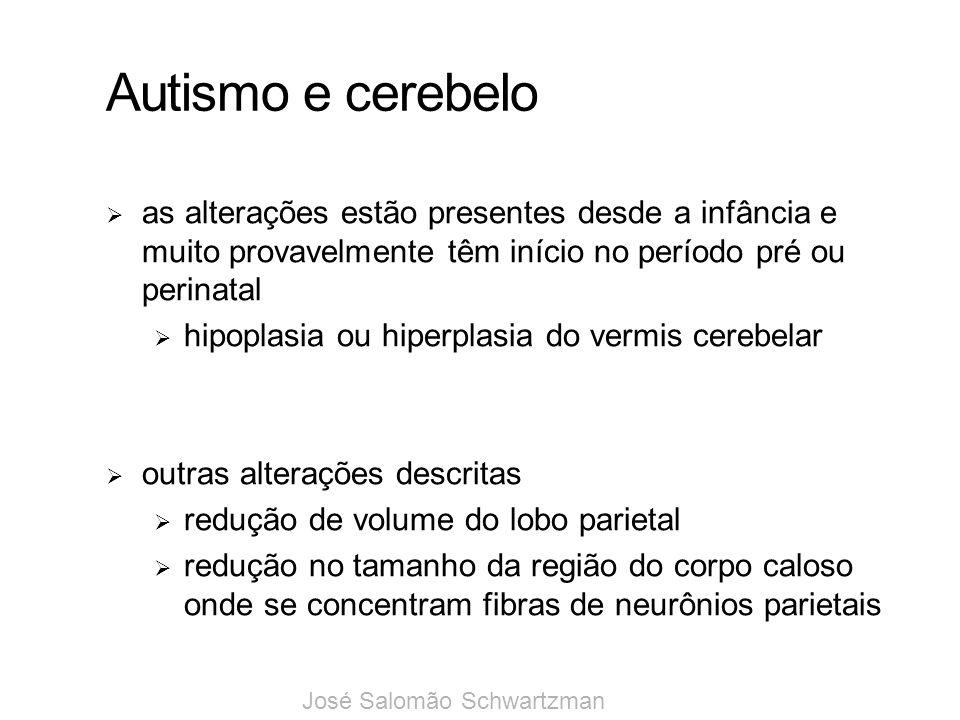 Autismo e cerebelo as alterações estão presentes desde a infância e muito provavelmente têm início no período pré ou perinatal hipoplasia ou hiperplas