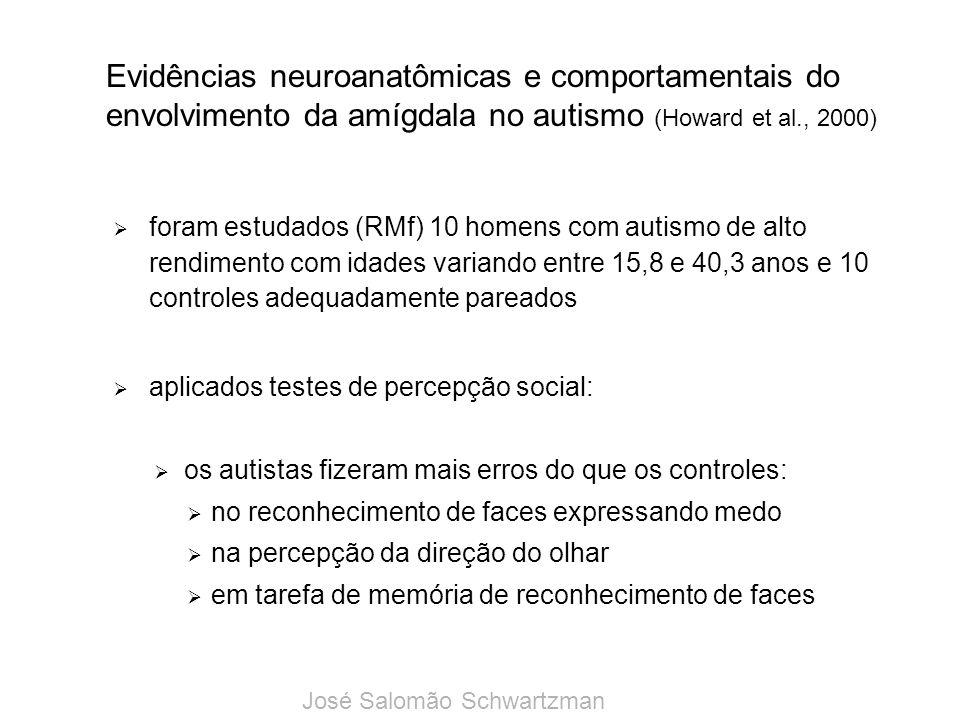 Evidências neuroanatômicas e comportamentais do envolvimento da amígdala no autismo (Howard et al., 2000) foram estudados (RMf) 10 homens com autismo