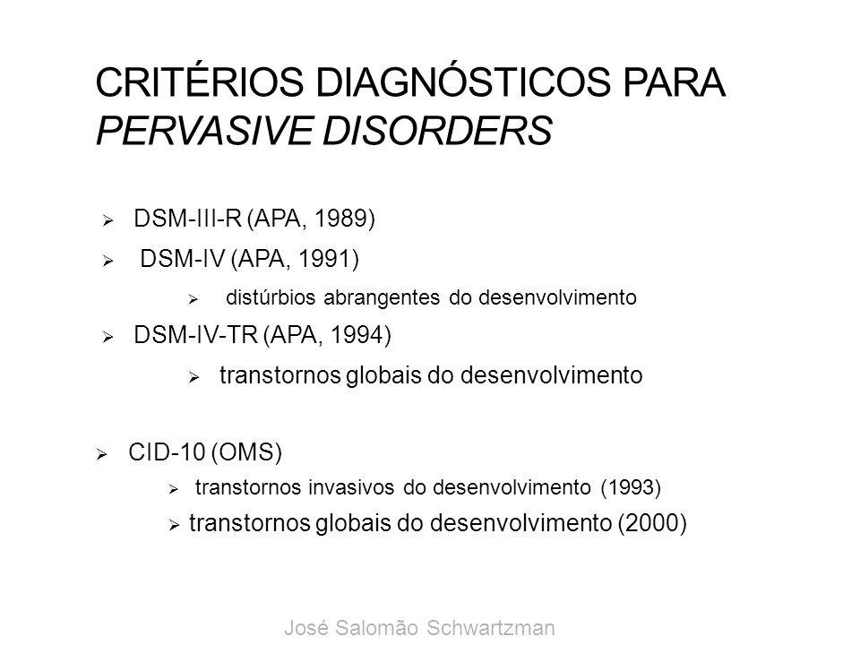 CRITÉRIOS DIAGNÓSTICOS PARA PERVASIVE DISORDERS DSM-III-R (APA, 1989) DSM-IV (APA, 1991) distúrbios abrangentes do desenvolvimento DSM-IV-TR (APA, 199