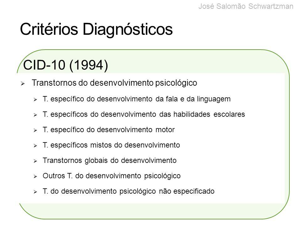 Critérios Diagnósticos CID-10 (1994) Transtornos do desenvolvimento psicológico T. específico do desenvolvimento da fala e da linguagem T. específicos