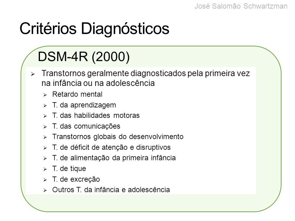 Critérios Diagnósticos CID-10 DSM-4R Autismo Infantil Autismo Atípico (psicose infantil atípica, retardo mental com características autísticas) Síndrome de Rett Outro Transtorno Desintegrativo da Infância Transtorno de Hiperatividade associado a retardo mental e movimentos estereotipados Síndrome de Asperger Outros Transtornos Invasivos do Desenvolvimento Transtorno Invasivo do Desenvolvimento Não Especificado.