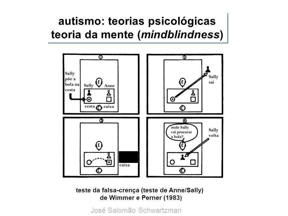autismo: teorias psicológicas teoria da mente (mindblindness) teste da falsa-crença (teste de Anne/Sally) de Wimmer e Perner (1983 ) José Salomão Schw