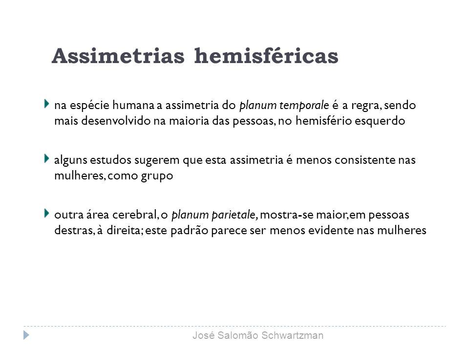 Assimetrias hemisféricas na espécie humana a assimetria do planum temporale é a regra, sendo mais desenvolvido na maioria das pessoas, no hemisfério e