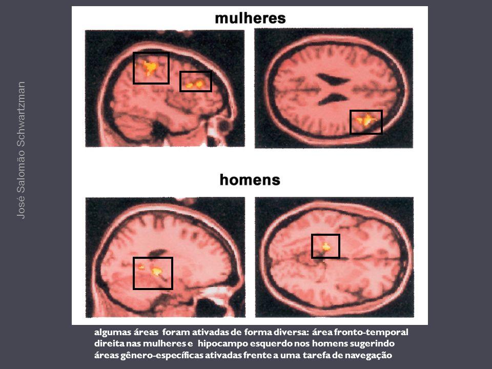 algumas áreas foram ativadas de forma diversa: área fronto-temporal direita nas mulheres e hipocampo esquerdo nos homens sugerindo áreas gênero-especí
