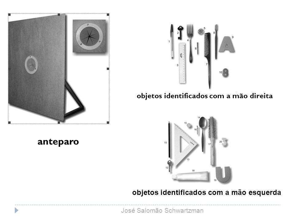 anteparo objetos identificados com a mão direita objetos identificados com a mão esquerda José Salomão Schwartzman