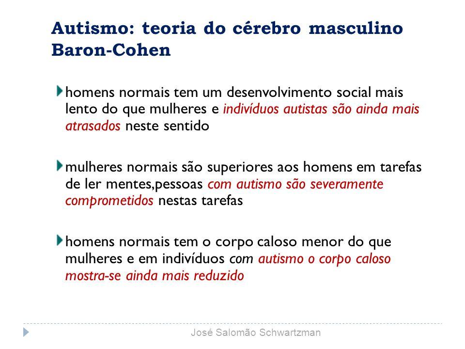 Autismo: teoria do cérebro masculino Baron-Cohen homens normais tem um desenvolvimento social mais lento do que mulheres e indivíduos autistas são ain
