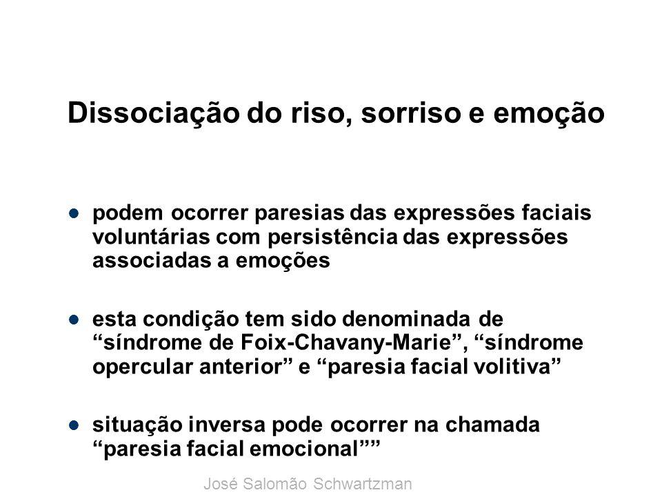 Dissociação do riso, sorriso e emoção podem ocorrer paresias das expressões faciais voluntárias com persistência das expressões associadas a emoções e