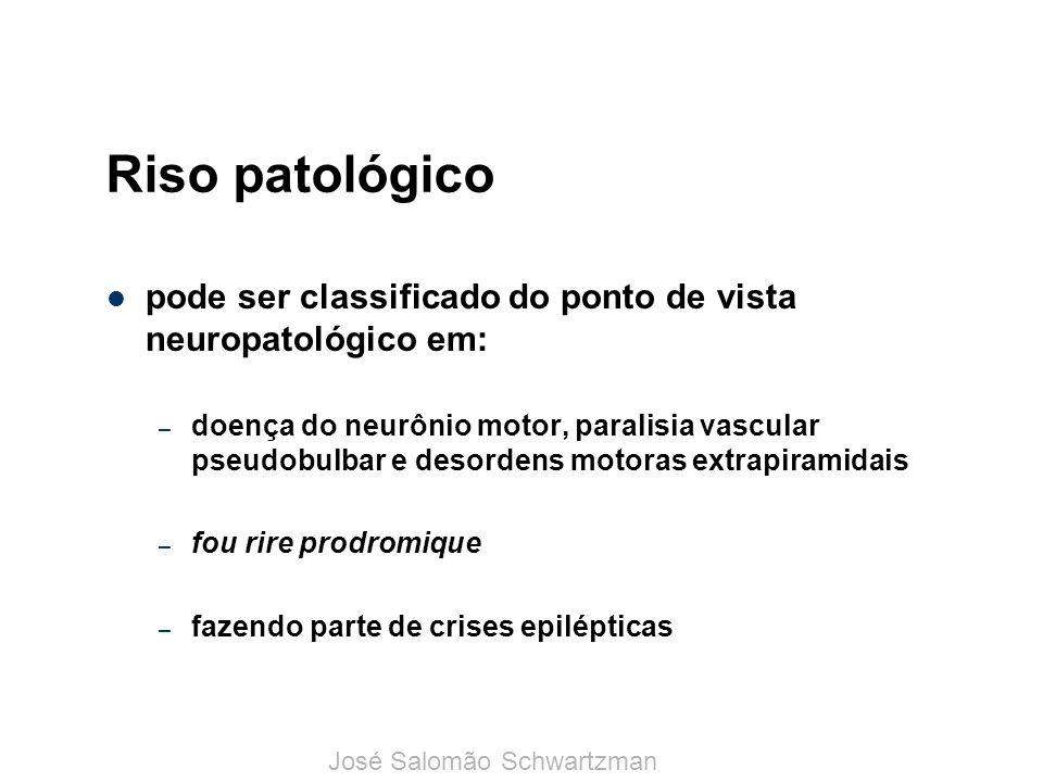 Riso patológico pode ser classificado do ponto de vista neuropatológico em: – doença do neurônio motor, paralisia vascular pseudobulbar e desordens mo