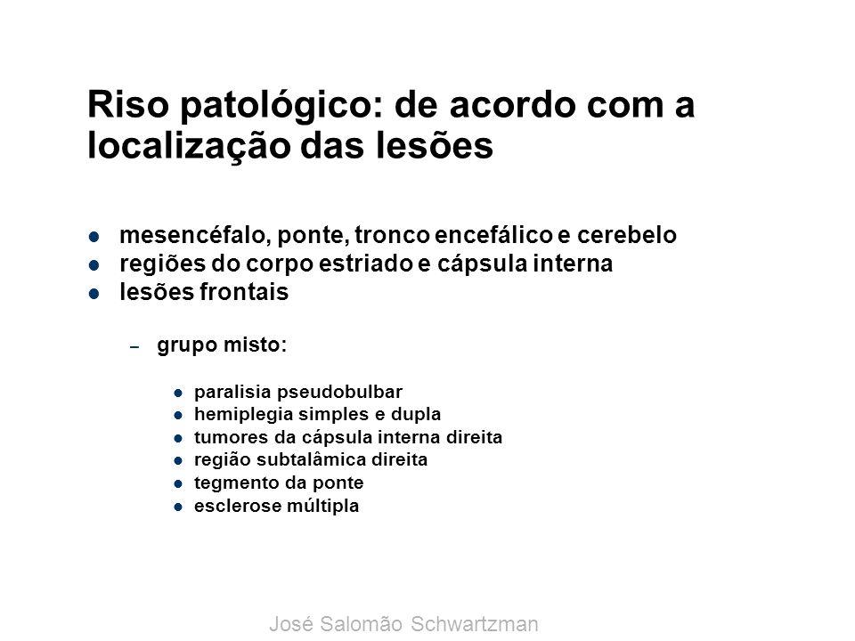 Riso patológico: de acordo com a localização das lesões mesencéfalo, ponte, tronco encefálico e cerebelo regiões do corpo estriado e cápsula interna l