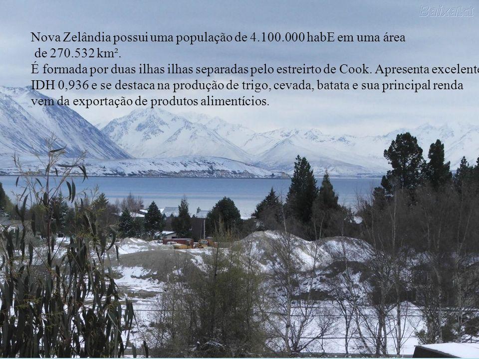 Nova Zelândia possui uma população de 4.100.000 habE em uma área de 270.532 km². É formada por duas ilhas ilhas separadas pelo estreirto de Cook. Apre