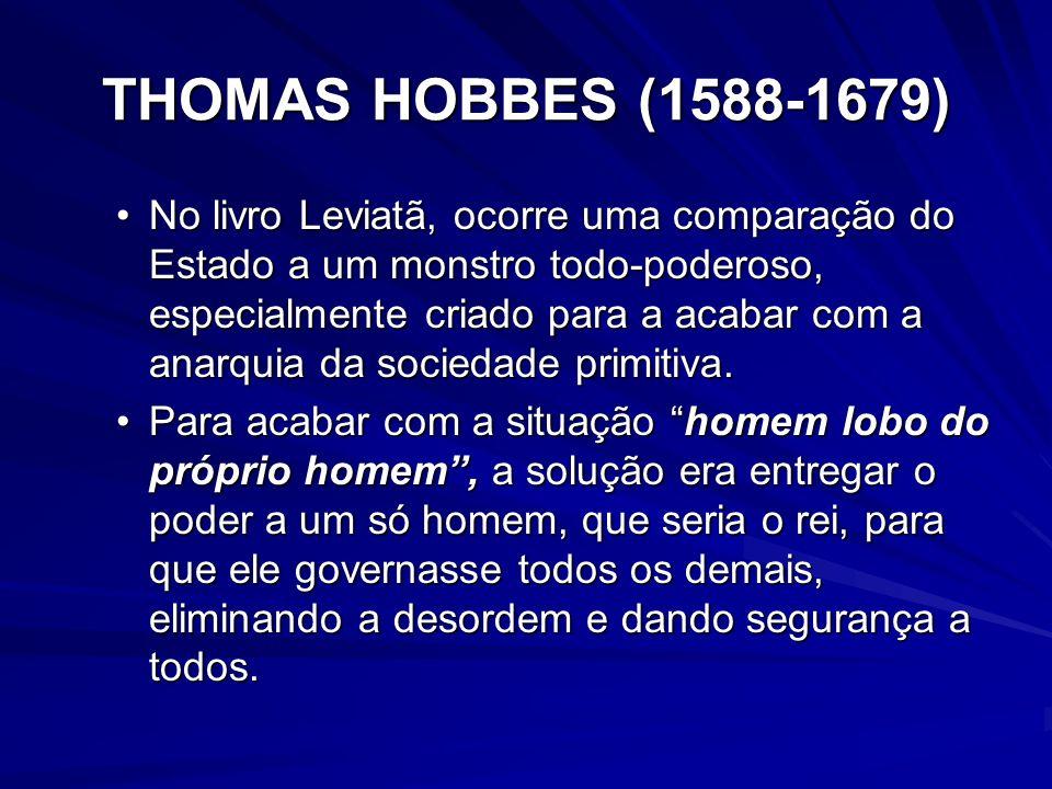 THOMAS HOBBES (1588-1679) No livro Leviatã, ocorre uma comparação do Estado a um monstro todo-poderoso, especialmente criado para a acabar com a anarq