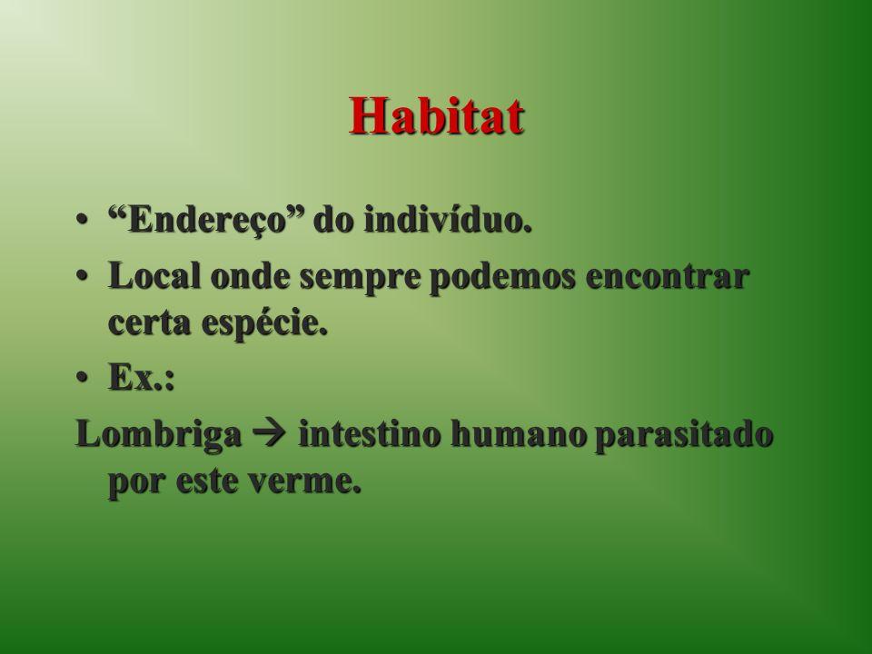Habitat Endereço do indivíduo.Endereço do indivíduo.