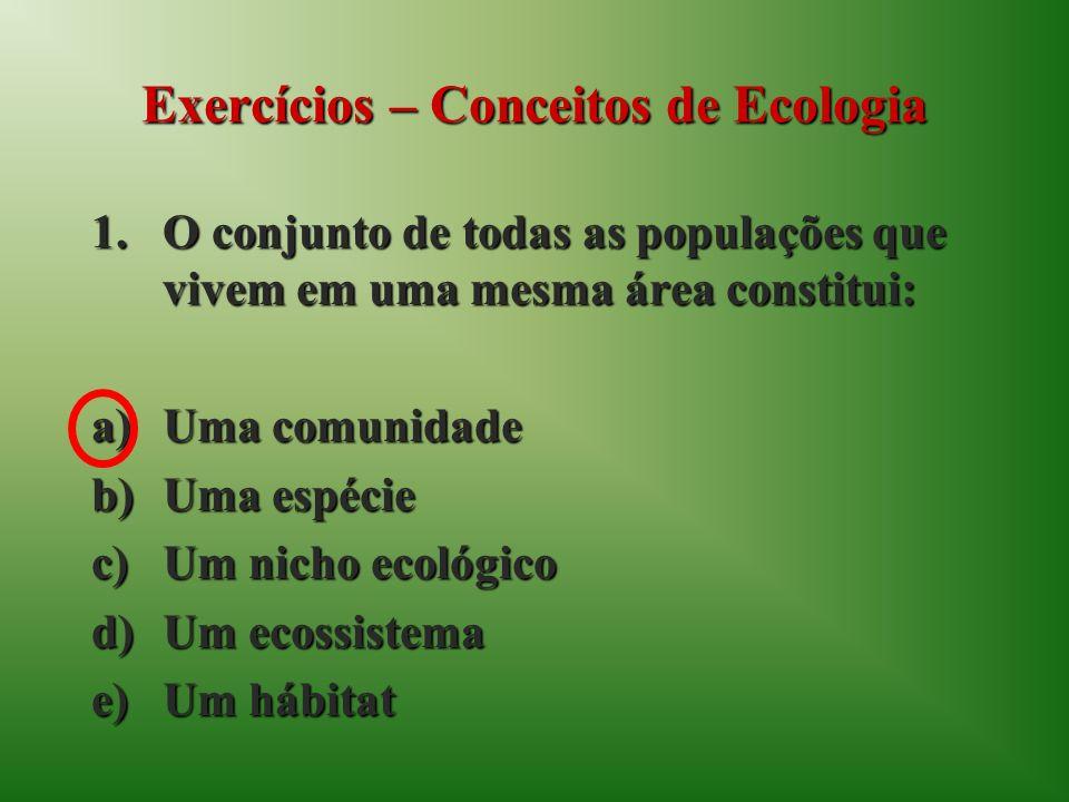 Exercícios – Conceitos de Ecologia 1.O conjunto de todas as populações que vivem em uma mesma área constitui: a)Uma comunidade b)Uma espécie c)Um nicho ecológico d)Um ecossistema e)Um hábitat
